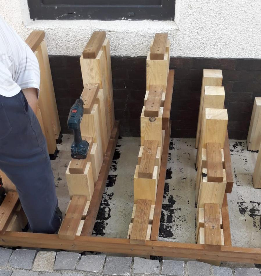 montare scara 1 structura lemn molid Alma parche natural