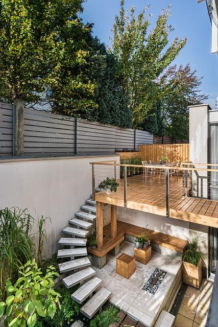 amenajare gradina terasa lemn minimalist